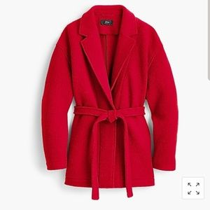 J.crew Camille Short Wrap Boiled Wool Red Coat